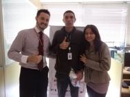 André Machado (supervisor filial Curitiba), Lauro Pedro (recuperador premiado filial Curitiba) e Dejayne Rodrigues (coordenadora filial Curitiba)
