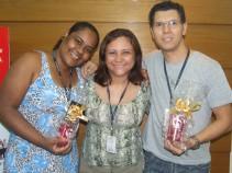 Luciana e Luis (recuperadores premiados filial São Paulo 1) e Stela Badu (coordenadora filial São Paulo 1)