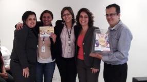 Daniela Neves (RH), Patrícia Pereira (contemplada Matriz), Patrícia Finoti (Supervisora RH - DO), Ana Pimentel (Gerente Operacional Sênior) e Fabiano Ferreira (Supervisor filial São Paulo 1)