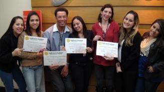 Jocilene Silva (Coordenadora de Monitoria), Sheila Pereira e Victoria Botelho (Monitoras de Qualidade) e recuperadores nota 100 na filial SPA6 (turno tarde)