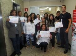 Jocilene Silva (Coordenadora de Monitoria), Sheila Pereira e Victoria Botelho (Monitoras de Qualidade) e recuperadores nota 100 na filial SPA6 (turno manhã)