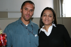 Leonardo (recuperador premiado) e Solange (coordenadora)